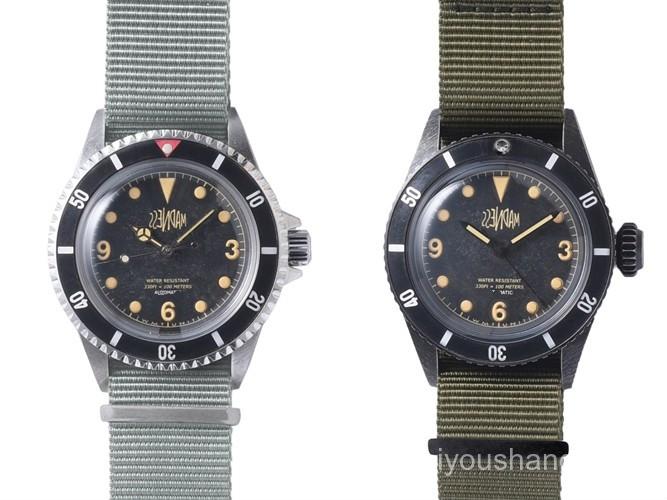 現貨速發2020MADNESS x WMT聯名軍事風手錶男手工做舊情侶石英手錶腕錶男