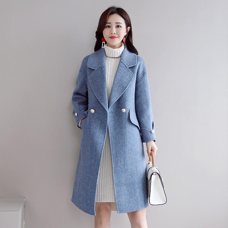 毛呢外套女中長款2019新款秋冬韓版修身時尚赫本風霧霾藍呢子大衣