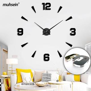 超大 120cm Dia 歐洲設計時尚客廳裝飾 3d 亞克力鏡面計時表石英牆貼掛鐘