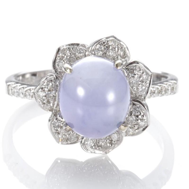 Dolly【合購價】緬甸 冰種紫羅蘭翡翠 14K金鑽石戒指【合購50分18K金鎖骨鍊】