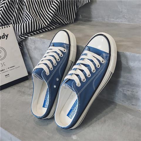 【懶人一腳蹬】男鞋無后跟半拖帆布鞋2019夏季潮鞋男士百搭韓版潮流一腳蹬懶人鞋