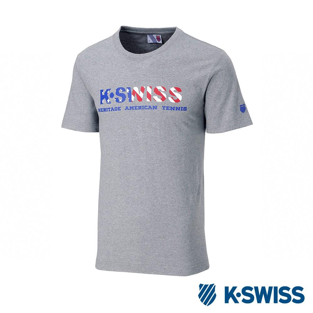 K-SWISS Falg Graphic Tee印花短袖T恤-男-灰