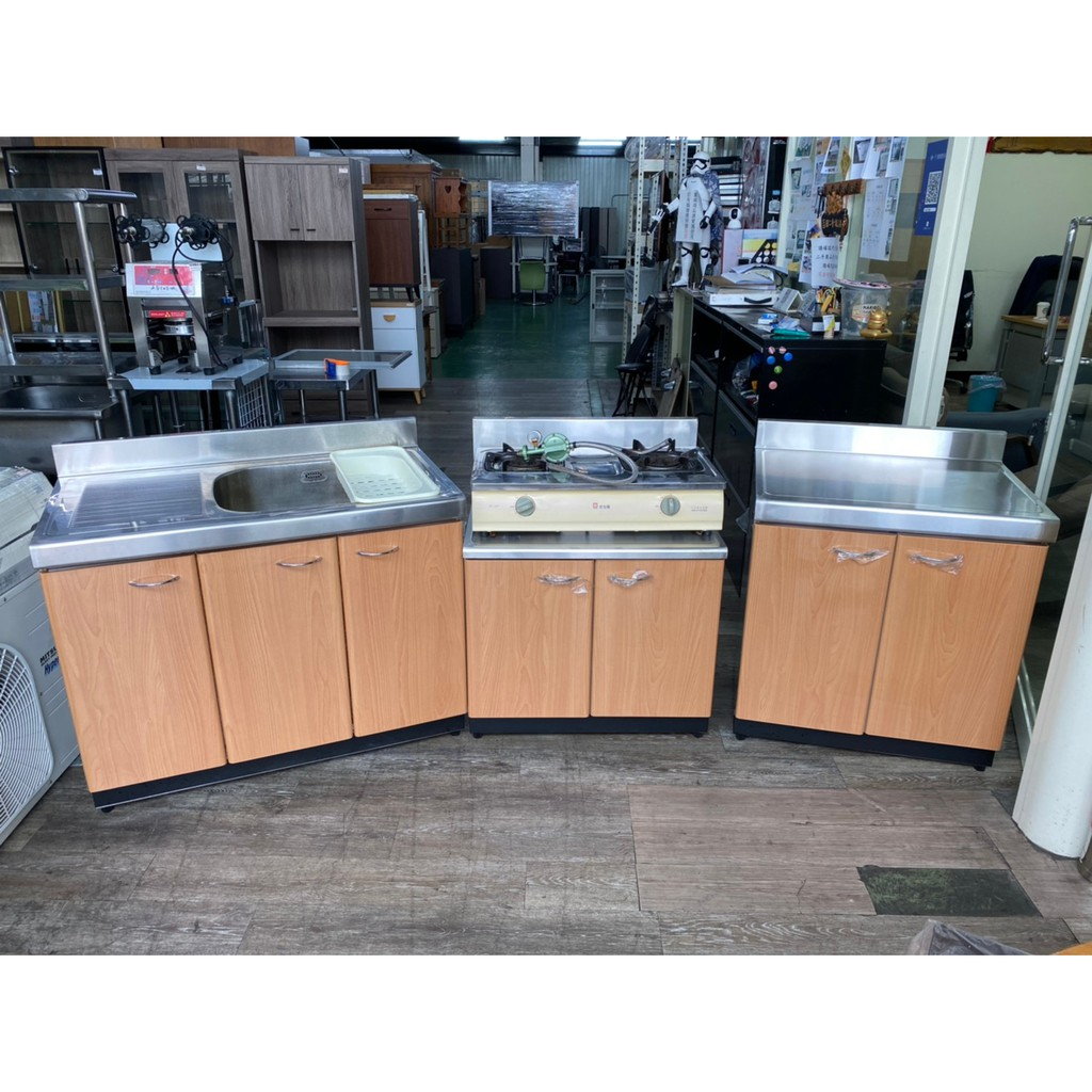 吉田二手傢俱❤廚房流理台4件組 一字型廚房 L型廚房 廚具 廚櫃 組合式廚具 瓦斯爐 水槽