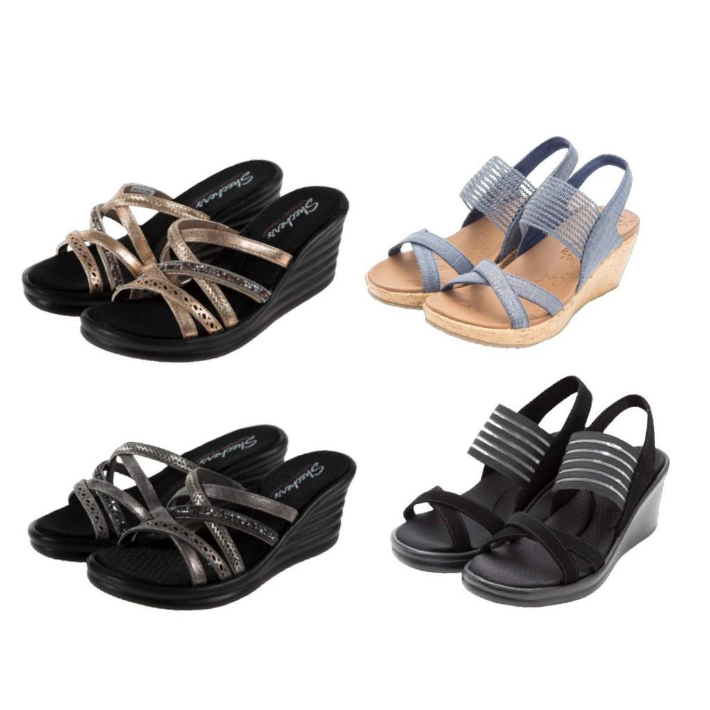 【速】SKECHERS BEVERLEE 楔形鞋跟拖鞋 時尚涼鞋 女 現貨