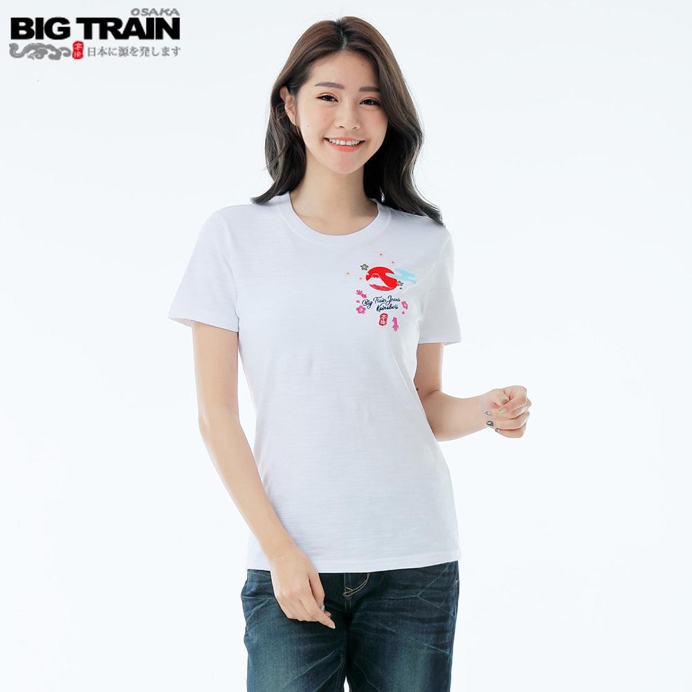 BIG TRAIN 鯉魚旗之夏圓領女T-白