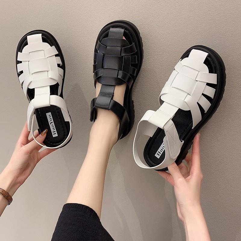 ⭐女鞋⭐羅馬涼鞋女2021年夏季新款時尚韓版百搭學生包頭厚底外穿休閑鞋女