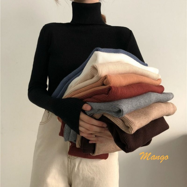 【Mango製品】秋冬季長袖針織上衣 韓版修身內搭高領長袖打底衫 薄款毛衣針織衫毛線衫軟糯舒適女潮