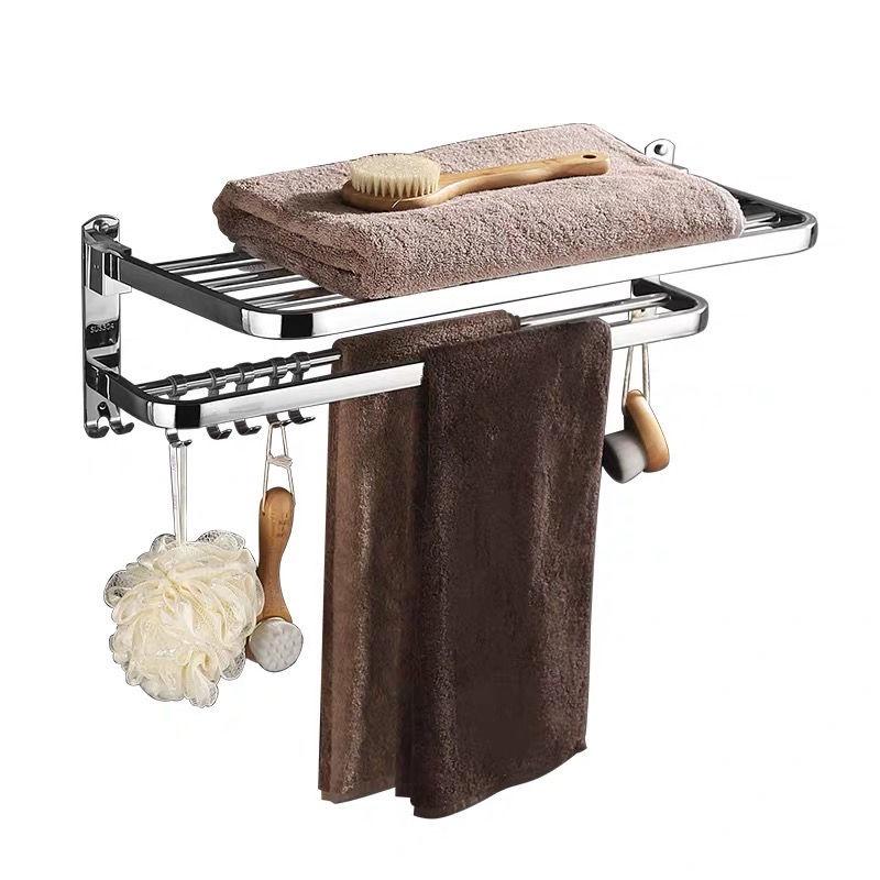 浴室毛巾架免打孔浴巾架不銹鋼304衛生間置物架衛浴洗手間摺疊架置物架 大容量***&