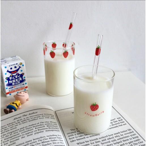 💗NANA草莓玻璃杯(2入) 送玻璃吸管高硼矽耐熱玻璃 可愛草莓牛奶杯 漫畫周邊