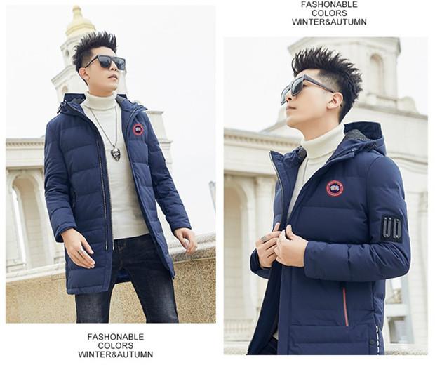 加拿大鵝男生外套冬季男士羽絨外套中長款外套韓版修身棉衣連帽外套冬裝保暖羽絨服帥氣百搭男士大衣