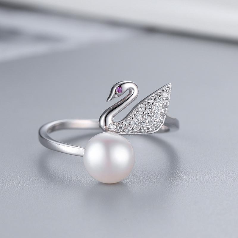 日韓簡約S925純銀天鵝戒指女開口可調節時尚個性淡水珍珠DIY指環萬 美