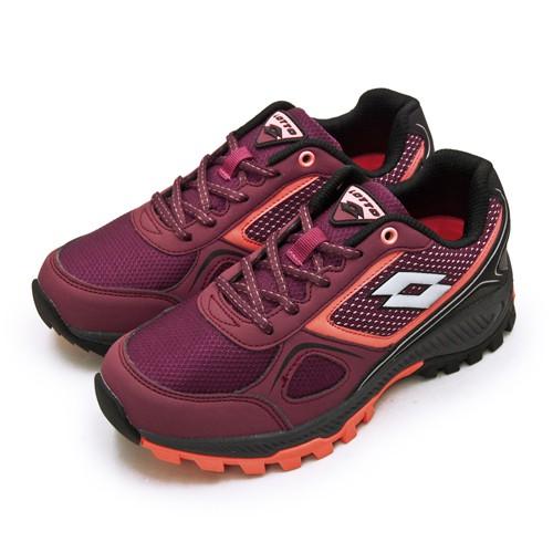 【LOTTO】專業防潑水郊山越野跑鞋 CROSS RUN 跨越叢林系列 葡紫黑 1052 女
