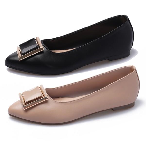【白鳥麗子】尖頭鞋 MIT優雅名媛顯瘦皮革方扣平底包鞋