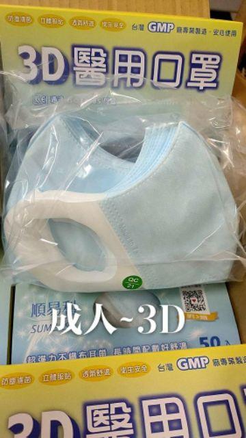 順易利成人/兒童/幼童3D立體醫用口罩/台灣製造