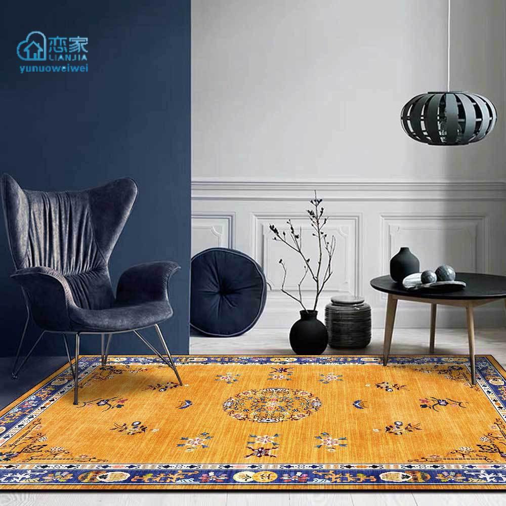 【戀家一慢生活家居】中式奢華宮廷風金黃色花卉藍框客廳臥室床邊地毯地墊定製