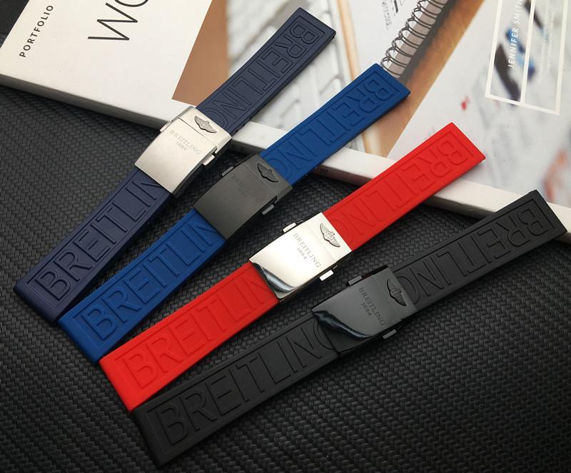 加厚硅膠橡膠手錶帶代用百年靈Breitling挑戰者22/24mm海洋文化