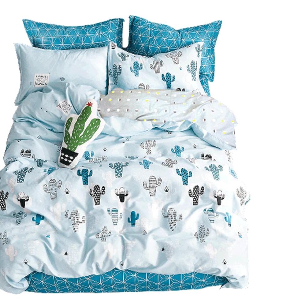 Artis 百分百精梳純棉 雙人床包+枕套組 台灣製 -小盆栽 蝦皮24h