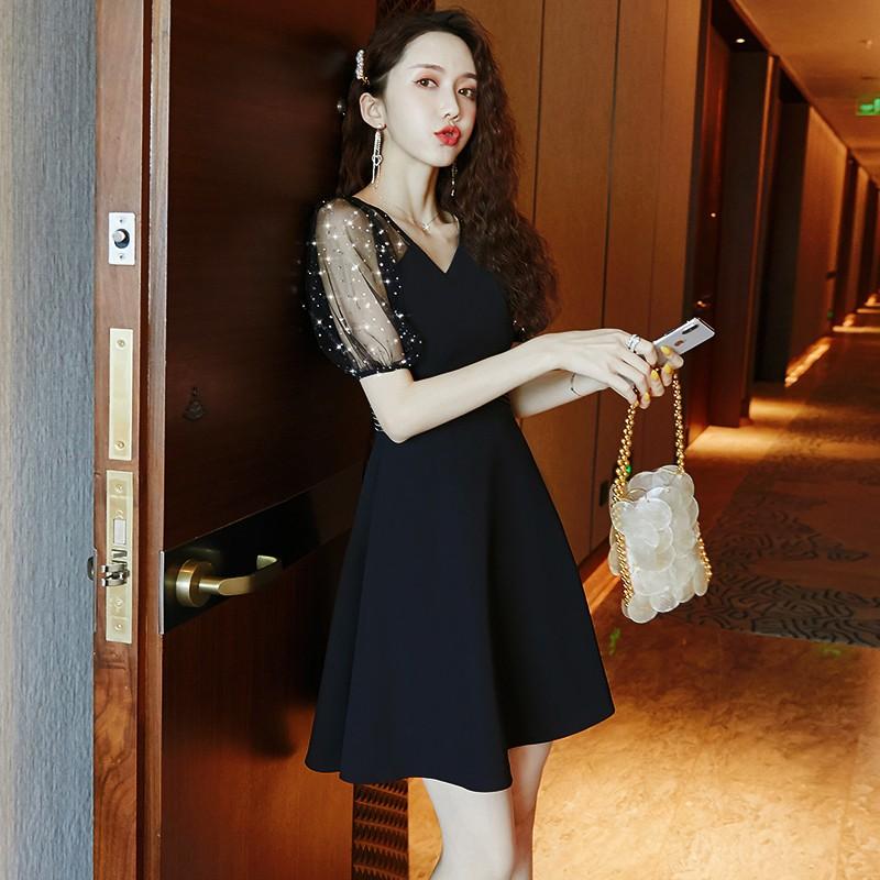 法式小個子連衣裙小黑裙女2020新款夏季