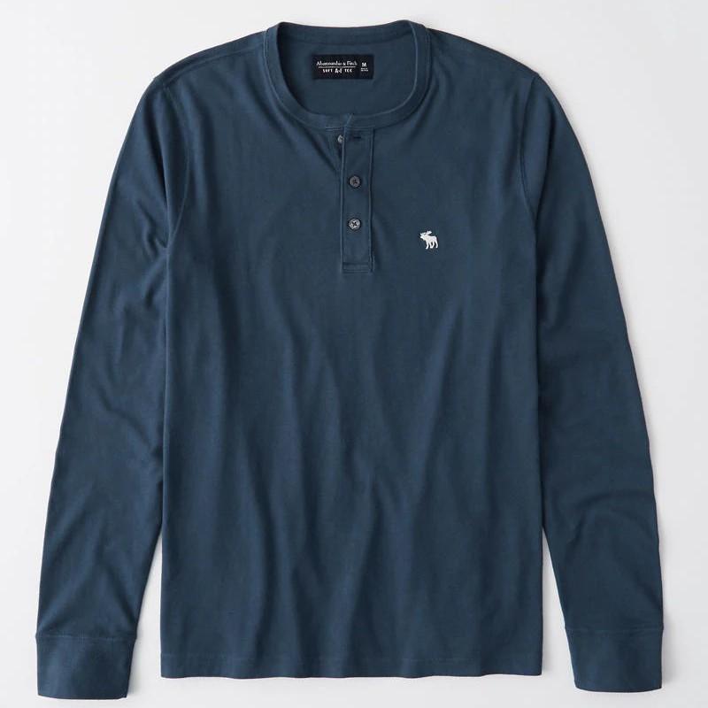 Abercrombie & Fitch 大學T 長袖T恤 純棉上衣 亨利領長袖 A12423 藍色AF(現貨)