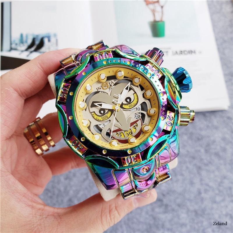 《現貨 免運》另類個性英威塔手表 INVICTA幻彩小丑男士手表 街頭嘻哈風朋克男士手表 鋼帶腕表 大表盤 石英表運動表