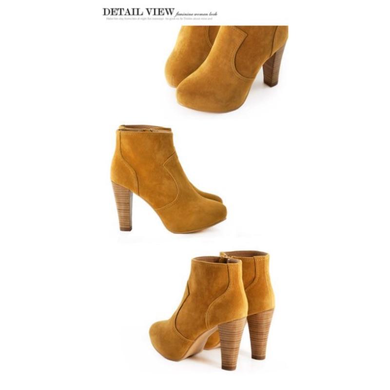 轉賣Grace gift KAZANA 卡其咖高跟裸短靴秋靴