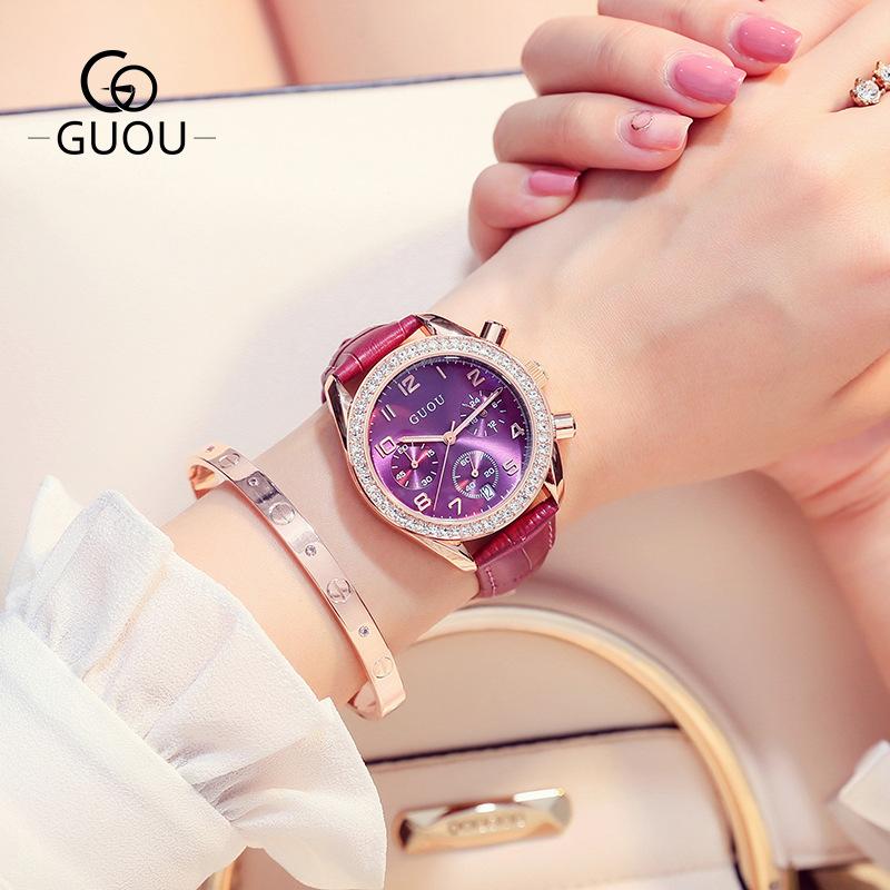 ♥正品古歐♥  GUOU手錶圓盤大錶盤石英手錶個性多功能三眼滿鑽皮帶手錶