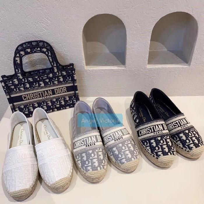 正品二手Dior CD 漁夫鞋/半拖/涼鞋,經典花紋搭配漁夫鞋