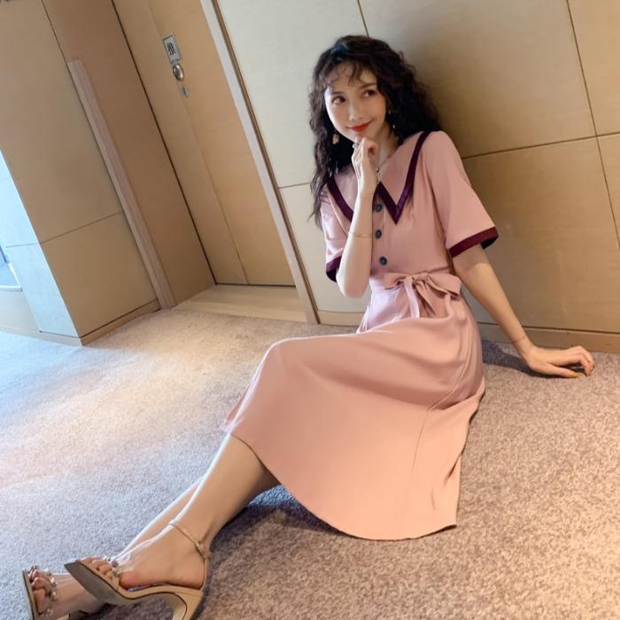 洋裝【S-XL現貨】正韓洋裝專櫃品質 實拍 夏季 2020年韓版氣質egg法式桔梗初戀裙收腰長款連衣裙女