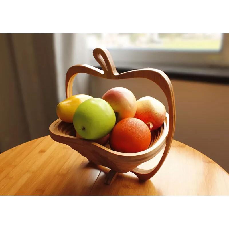 【現貨】竹製 折疊 水果籃 時尚 創意 竹籃 水果盆 竹木 工藝 製品 創意家居 桌面收納 桌面整理