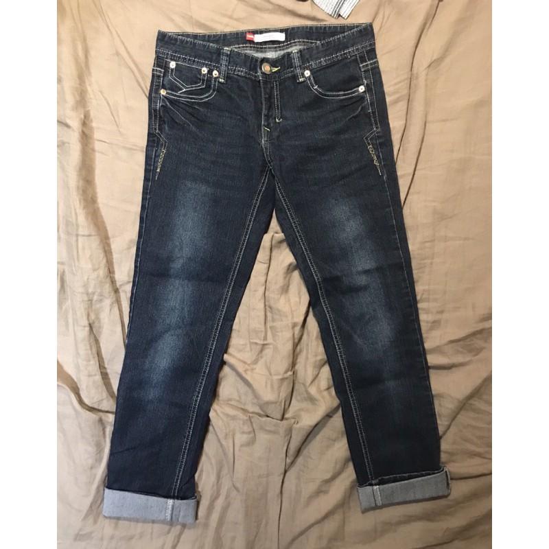 tank blue jans低腰彈性刷色牛仔褲