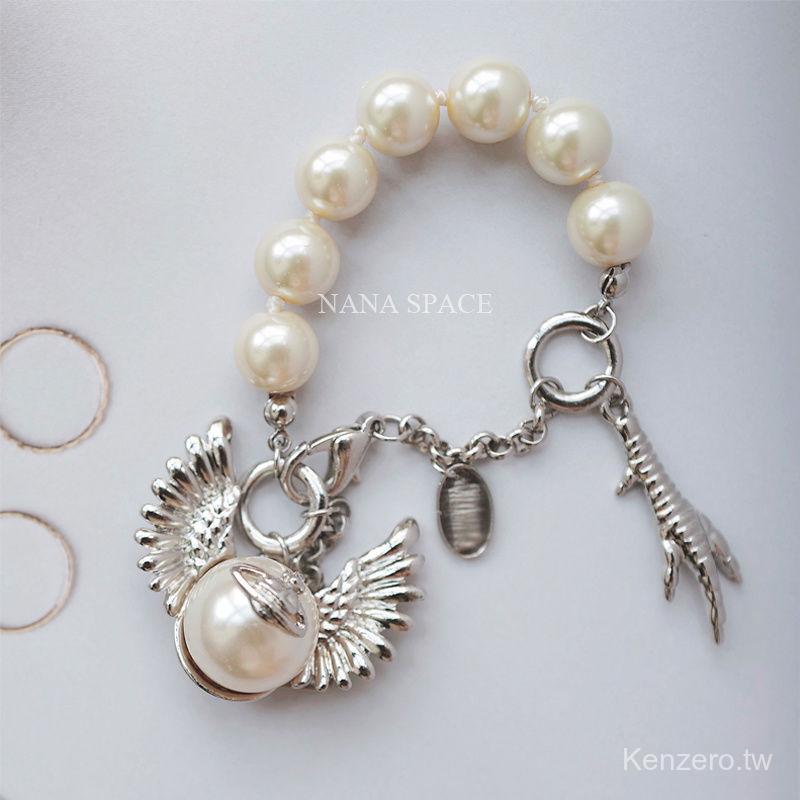 Vivienne Westwood 新款銀色 個性破碎的珍珠鷹爪新款手鍊 現貨包郵