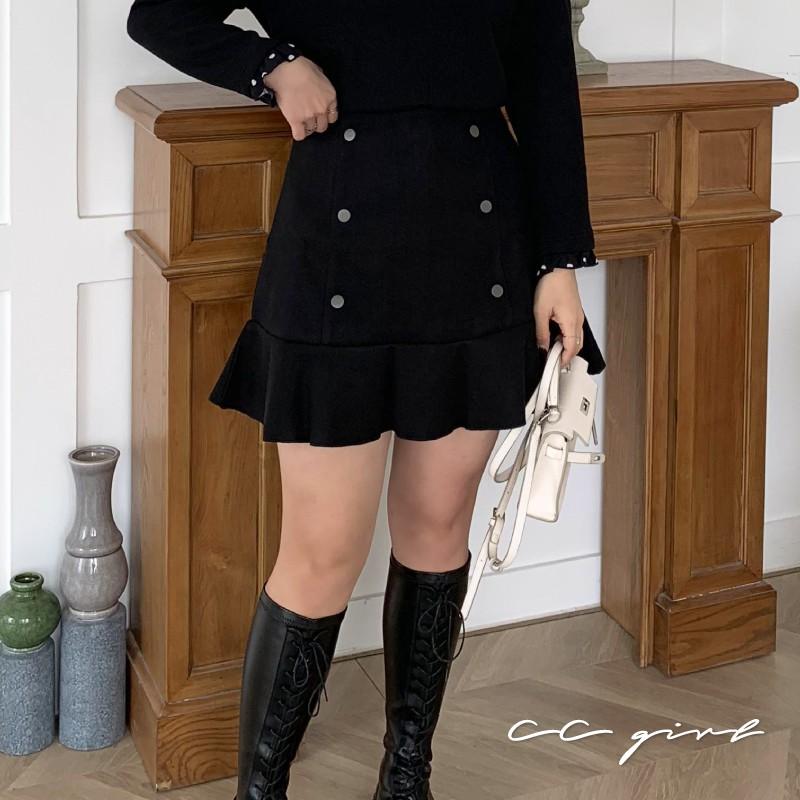 CC-GIRL 韓系排釦魚尾襬修身毛呢短裙 - 適XL~4L《 67303 》中大尺碼