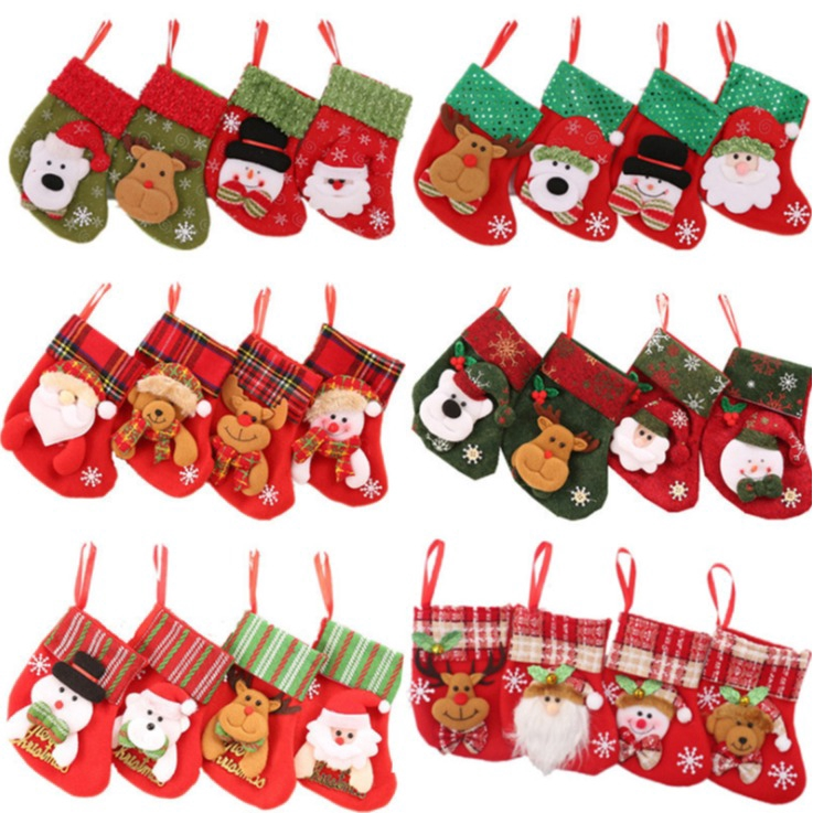 聖誕裝飾 聖誕襪 聖誕襪子 禮物袋掛件 兒童糖果袋【蘋果小舖】(MC) 1911 A6 ++12/25