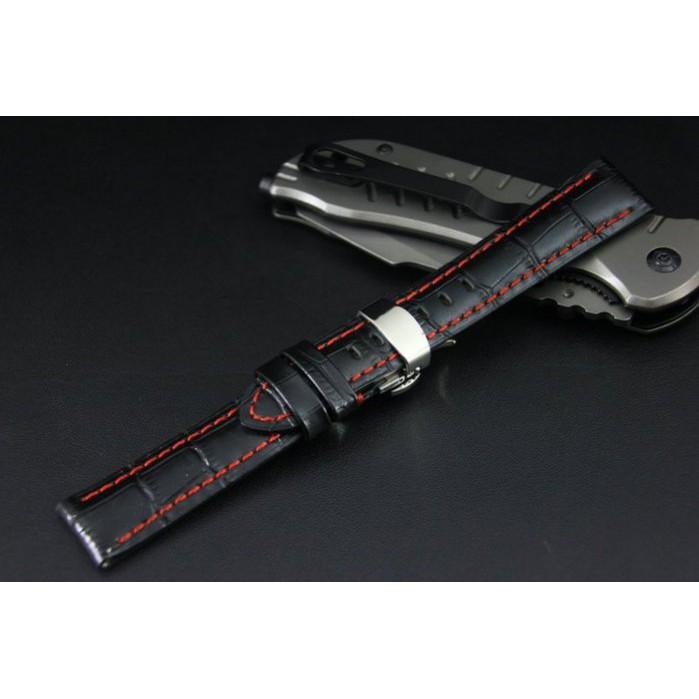 20mm高質感可替代TAG,BREITLING豪雅 百年靈 原廠錶帶之真牛皮錶帶,雙按式超方便