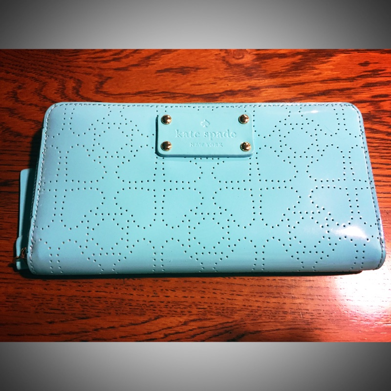 Kate Spade Tiffany藍 亮皮漆皮長夾