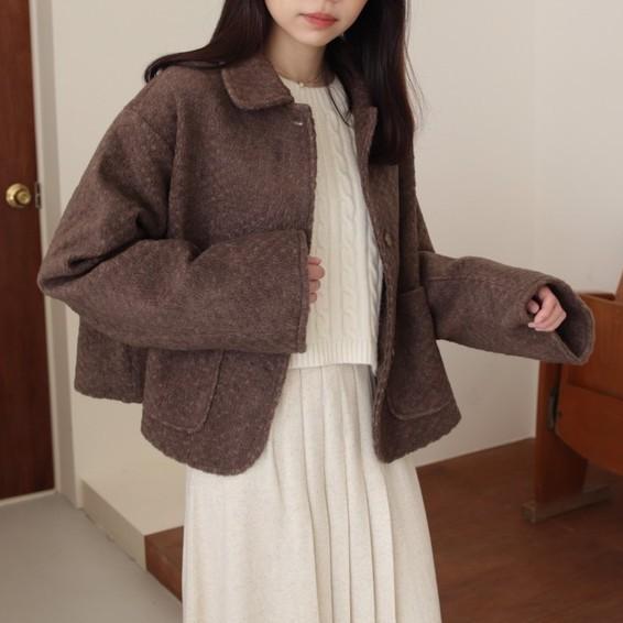 【seonmoon】 - 挺版寬袖毛呢短大衣