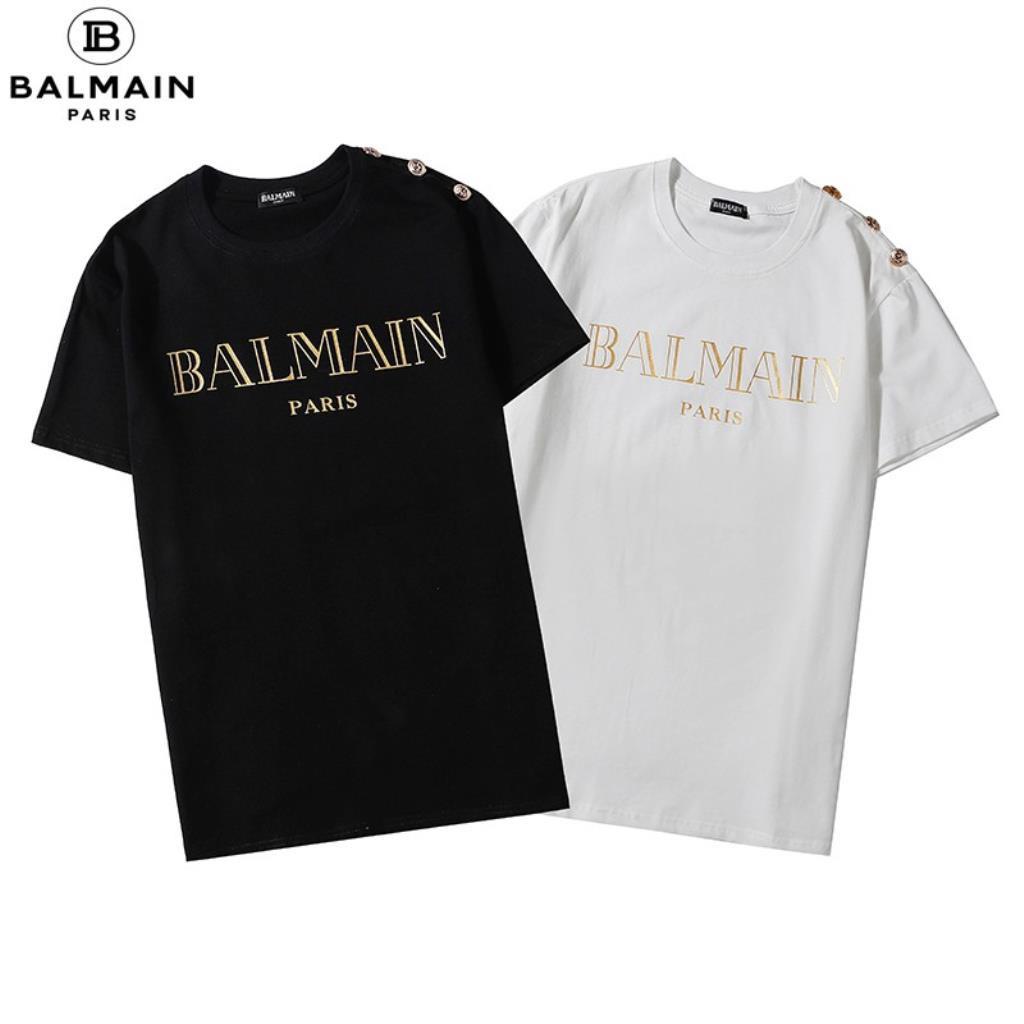 新店熱賣潮流品牌 BALMAIN 短袖 T恤 經典 黑底 金字 燙金 LOGO 金屬 鈕扣 上衣 T恤 短T 男女生同款