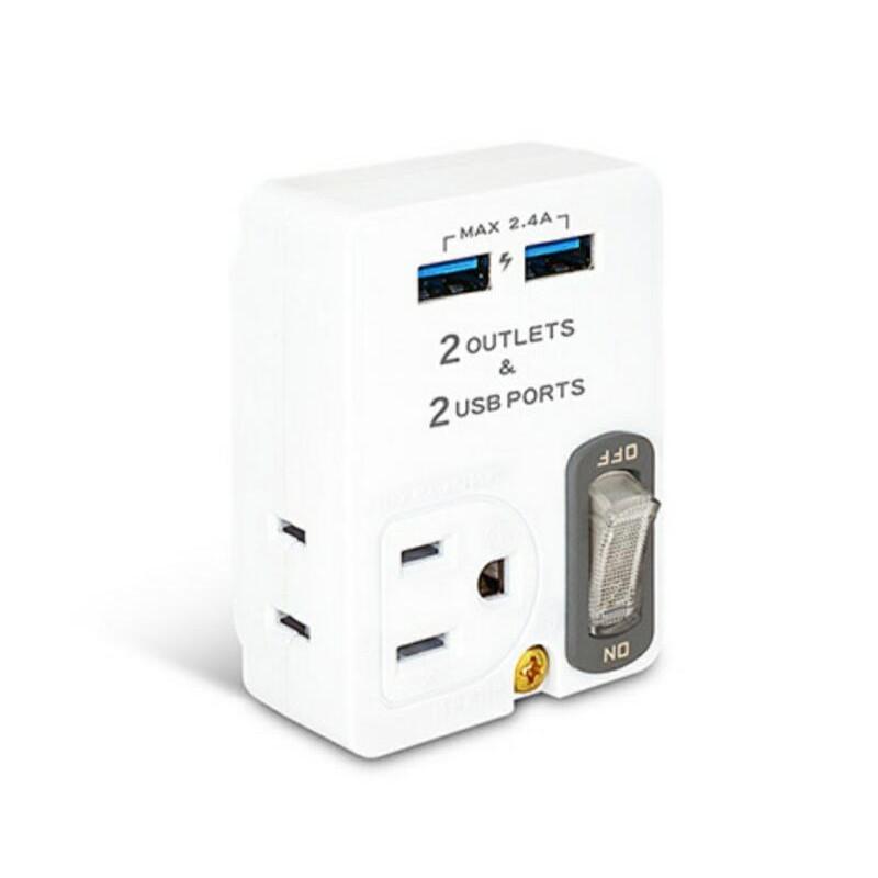 動力公牛2USB(2.4A)+2插節能分接插座(3P+2P) PB-60U 可當3孔轉2孔使用可充電可插電器-【便利網】