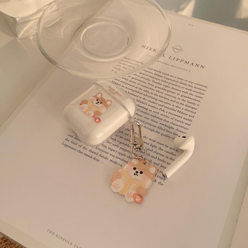 卡通可愛柴犬AirPods適用蘋果藍牙耳機1/2代保護套硅膠軟殼pro3代透明女男女同款