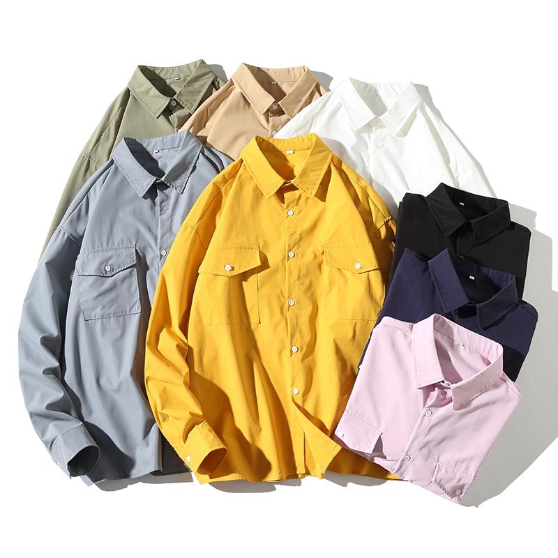 M-5XL百搭港風多色長袖襯衫 男生韓版雙口袋工裝襯衫 Oversize大尺碼襯衫 學生休閒襯衣 薄外套 上衣 男生衣著
