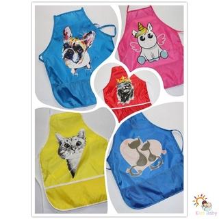 【蘑菇屋】兒童繪畫圍裙 貓咪圖案兒童防水圍裙 反穿罩衣 長袖畫畫衣 兒童繪畫罩衣
