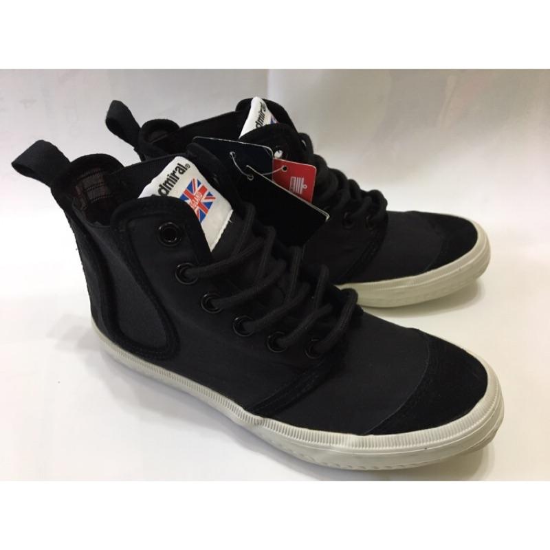 英國品牌 Admiral 黑色 高統 帆布鞋 UK4