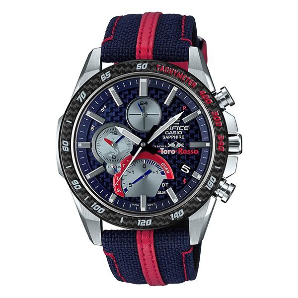 EDIFICE 一級方程式賽車紅牛二隊Scuderia Toro Rosso太陽能藍芽聯名錶-EQB-1000TR-2A