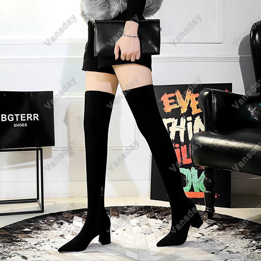 1988-6歐美風時尚簡約粗跟高跟尖頭絨面性感夜店顯瘦修腳過膝長靴 小尺碼34 40