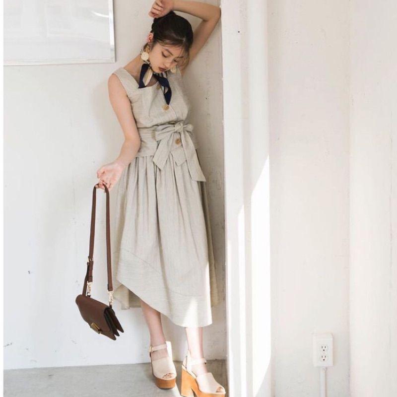 轉賣 redyazel 兩件式直條紋綁帶洋裝 米