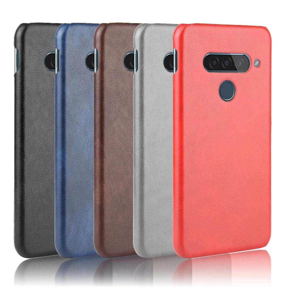 適用于LG G8S ThinQ復古荔枝紋手機殼G8S ThinQ磨砂半包保護套硬手機殼 保護殼 手機防摔殼