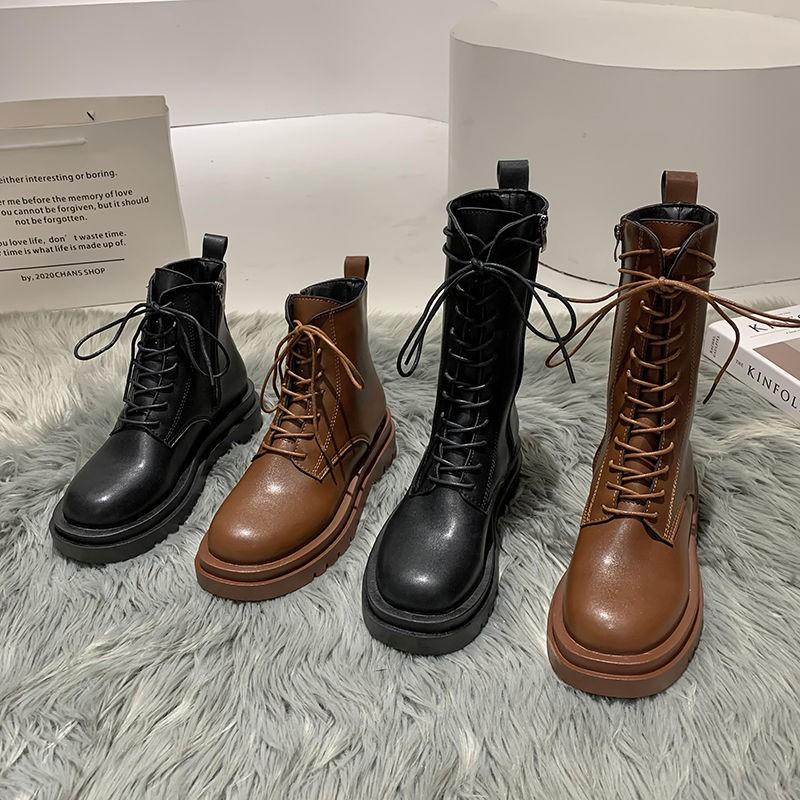 現貨 中筒靴子女2020秋季冬季新款韓版百搭學生網紅厚底馬丁靴短靴女