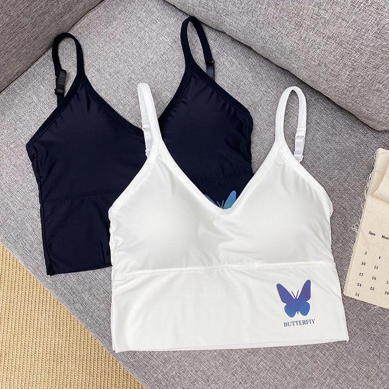 [現貨] 冰絲背心反光蝴蝶U型美背運動上衣 背心可調整肩帶打底上衣裹胸小可愛
