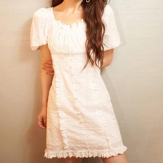 43048 收腰修身復古方領桔梗法式連衣裙洋裝