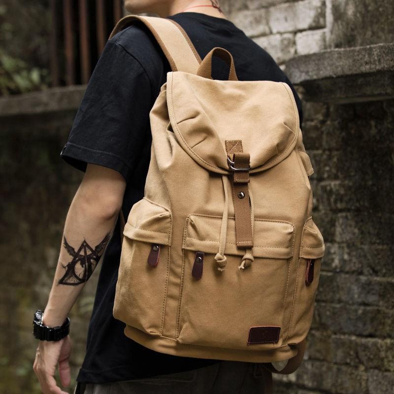*熱賣*復古男士雙肩包潮流帆布男包中學生書包大容量戶外背包休閑旅行包